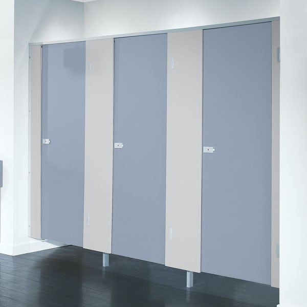 Pendle smoke blue toilet cubicle door pack with plain grey pilasters