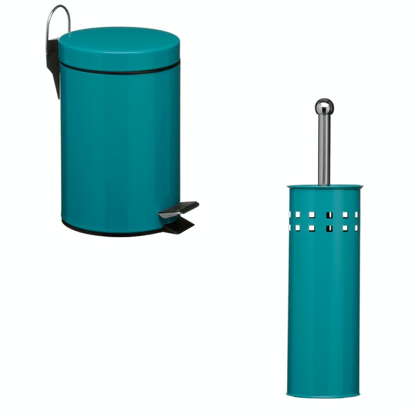 Accents Turquoise 3l bin and toilet brush 2 piece bathroom accessory set