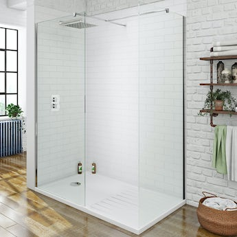 Orchard 8mm walk in shower enclosure pack with shower tray