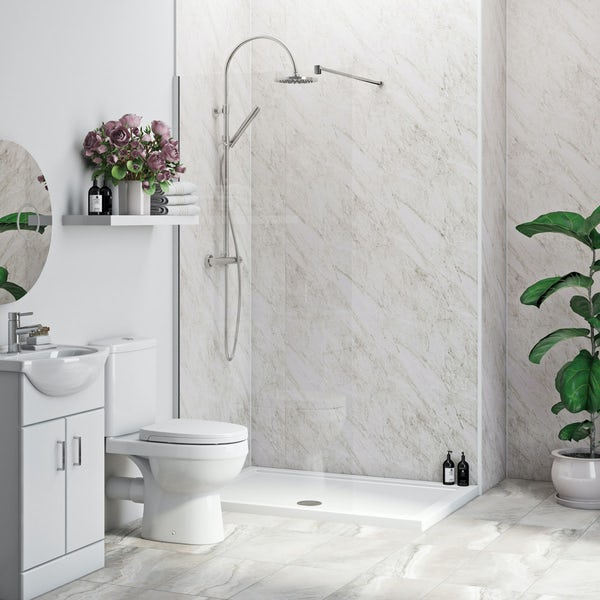 multipanel economy roman marble shower wall 2 panel pack. Black Bedroom Furniture Sets. Home Design Ideas
