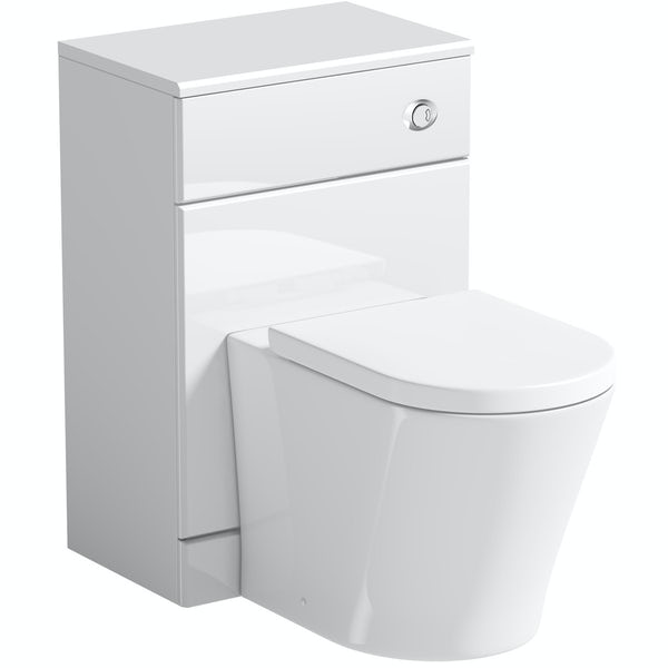 Orchard Eden white back to wall unit with contemporary toilet and seat