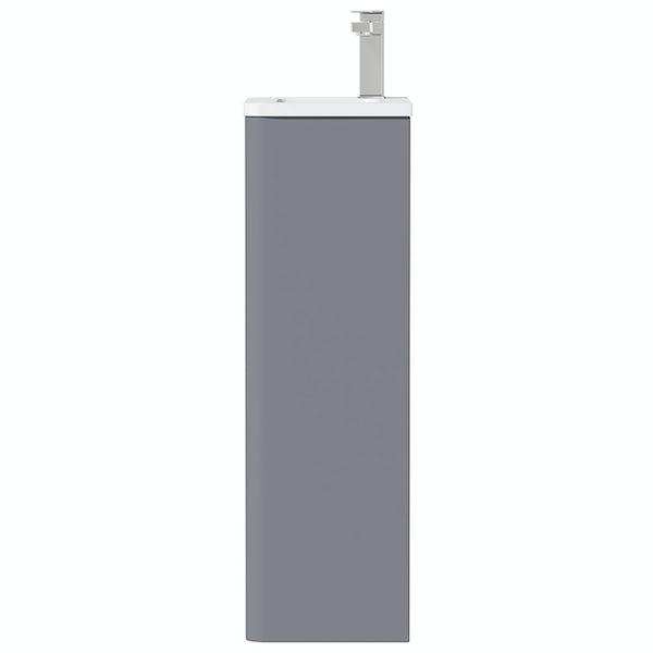 Mode De Gale grey cloakroom floorstanding vanity unit and left hand basin 410mm