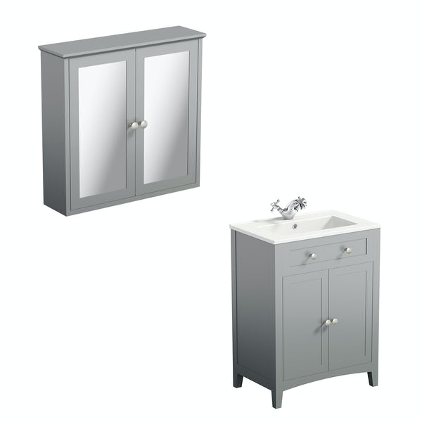 The Bath Co. Camberley satin grey vanity unit 600mm and mirror cabinet offer
