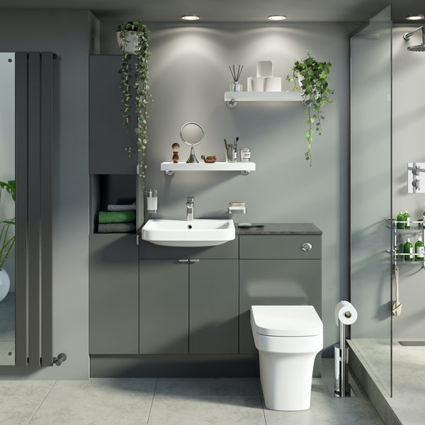 Reeves Wyatt onyx grey tall fitted furniture combination with mineral grey worktop