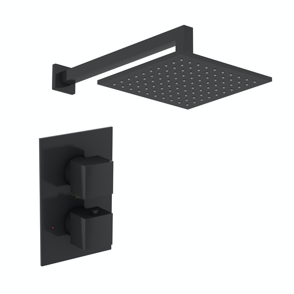 Mode Spencer square thermostatic twin valve matt black shower set