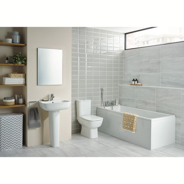 Ideal Standard Studio Echo straight bath suite with full pedestal basin 1700 x 700