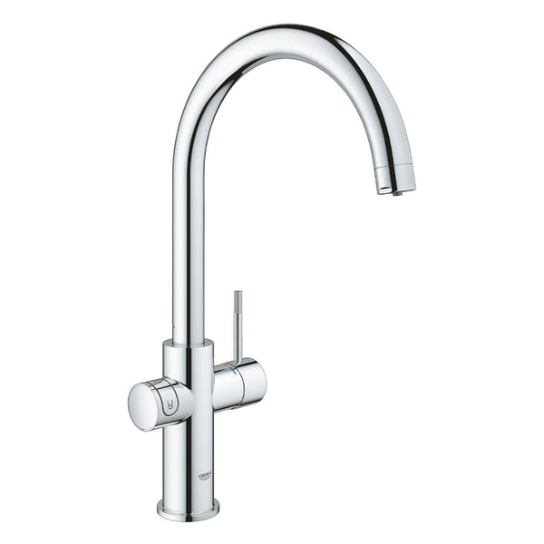 Grohe Blue Home Duo C spout kitchen tap starter kit chrome