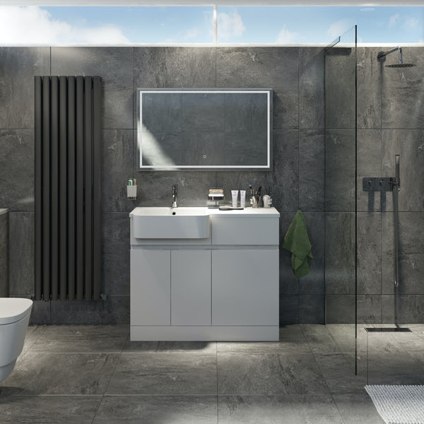 Mode Roche white floorstanding vanity and semi-recessed basin 1000mm
