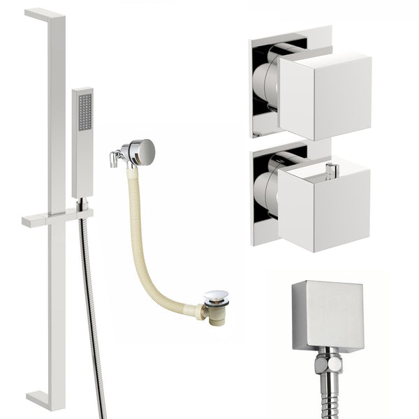 Mode Cooper thermostatic shower valve and slider rail shower bath set