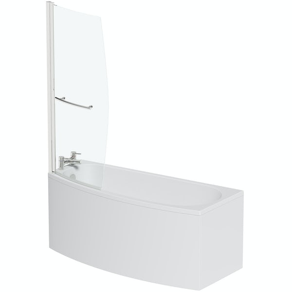 Orchard spacesaver single ended left handed shower bath with 6mm screen 1690 x 690