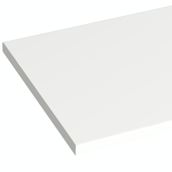Orchard Wharfe white straight large storage fitted furniture pack with white worktop
