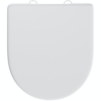 D shape and Elsdon thermoset top fix toilet seat with stainless steel soft close and lift off