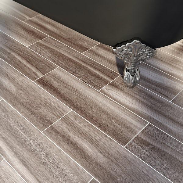 British Ceramic Tile Bark grey wood effect grey matt tile 148mm x 498mm