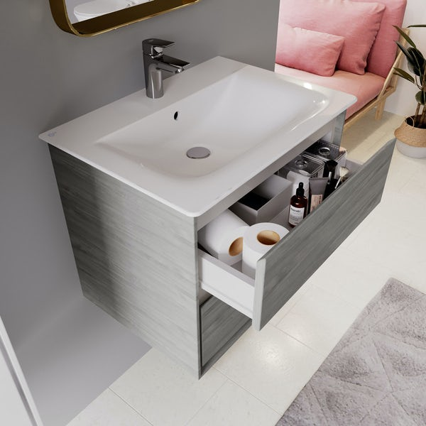 Ideal Standard Concept Air Wood Light Grey And Matt White Wall Hung Vanity Unit And Basin 600mm Victoriaplum Com