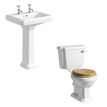 The Bath Co. Dulwich cloakroom suite with oak effect seat and full pedestal basin 615mm