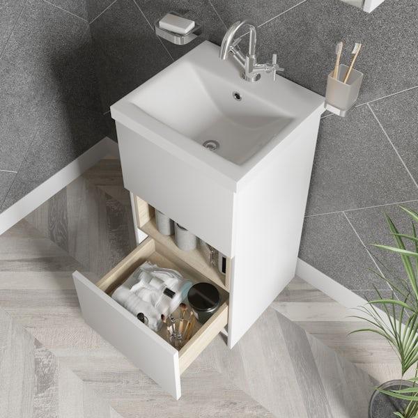 Mode Tate II white & oak cloakroom floorstanding vanity unit and ceramic basin 420mm