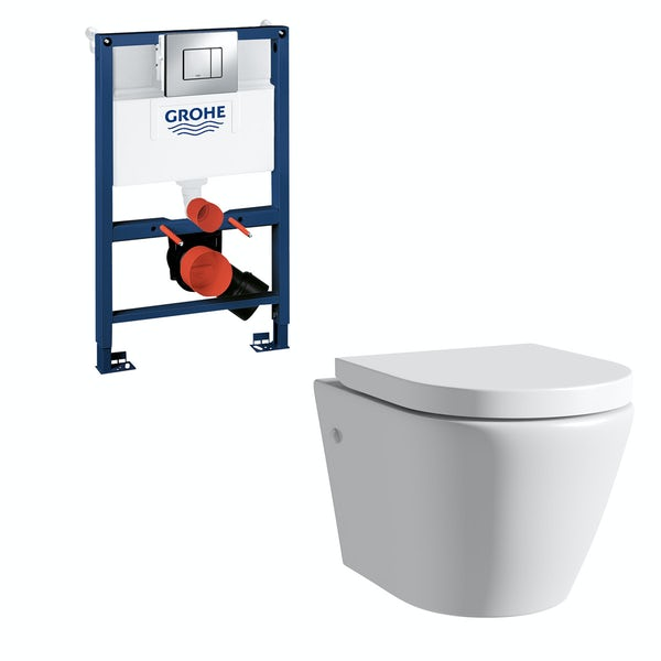 Mode Harrison rimless wall hung toilet, Grohe frame and Skate Cosmopolitan push plate 0.82m