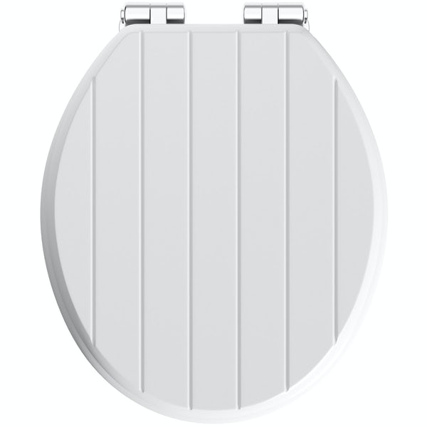 The Bath Co Traditional White Engineered Wood Tongue And Groove Toilet Seat With Top Fixing Soft Close Hinge