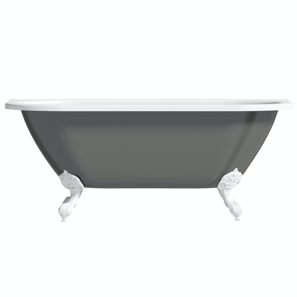 The Bath Co. Dalston grey back to wall freestanding bath with white ball and claw feet