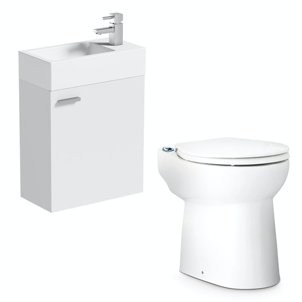 Saniflo Sanicompact cloakroom solution with cisternless back to wall toilet, macerator and small white wall hung vanity unit with basin 410mm