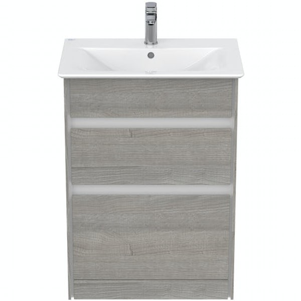 Ideal Standard Concept Air wood light grey vanity unit and basin 600mm with free tap