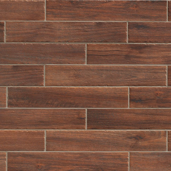 Arden dark wood effect matt wall and floor tile 105mm x 600mm