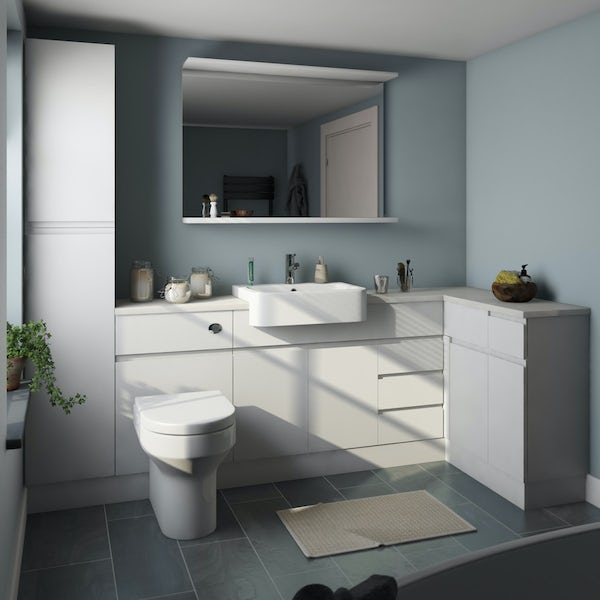 Orchard Wharfe white corner large storage fitted furniture pack with white countertop