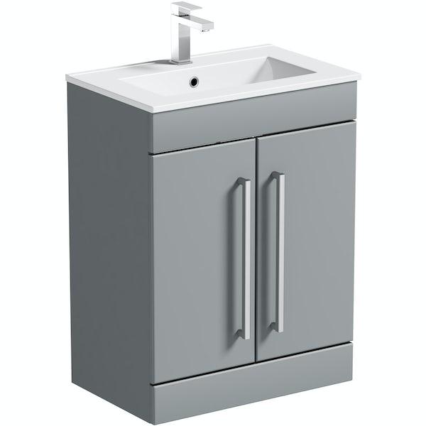 Orchard Derwent stone grey vanity door unit and basin 600mm