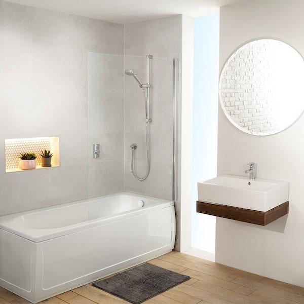 Aqualisa Visage Q Smart concealed shower pumped with adjustable handset and bath filler with overflow