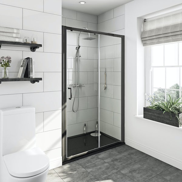 Mode premium black 6mm sliding shower door with left handed black tray 1200 x 800