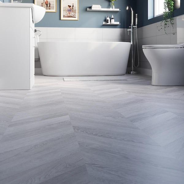 Woolaston silver oak chevron water resistant laminate flooring 8mm