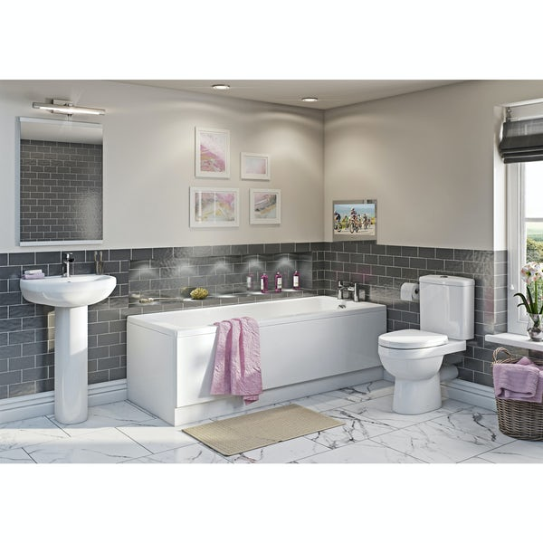 Orchard Eden bathroom suite with straight bath with ProofVision 19 inch waterproof bathroom TV