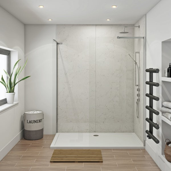 Mode 8mm walk in shower enclosure pack 1700 x 700 with Multipanel Classic Marble shower wall panels