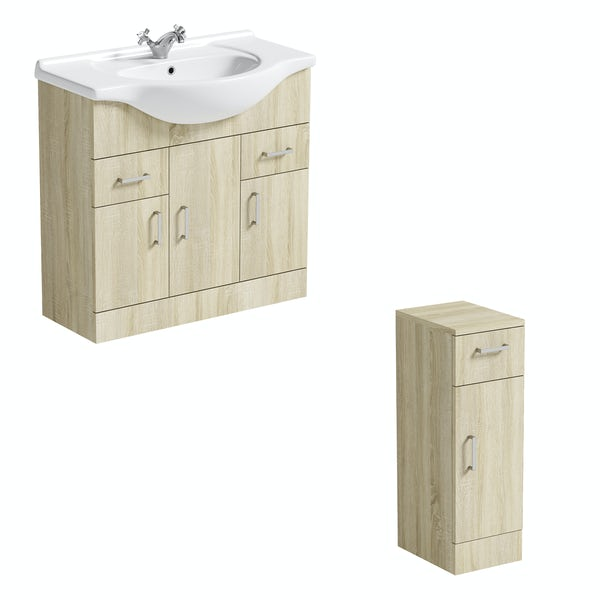 Orchard Eden oak vanity unit and ceramic basin 850mm with storage unit