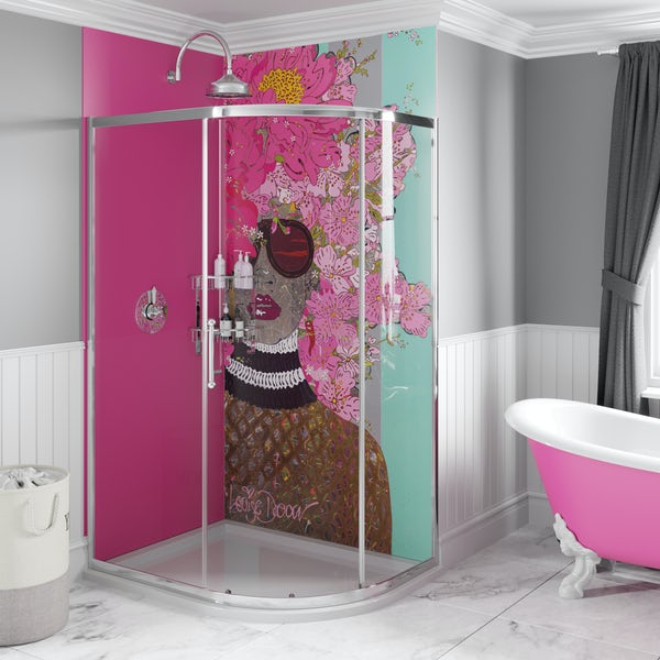 Artist Collection Pucker Up Pink acrylic shower wall panel 2440 x 900mm