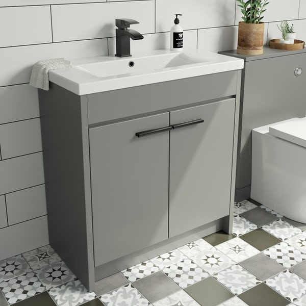 Clarity satin grey floorstanding vanity unit and ceramic basin 760mm with tap and black handles