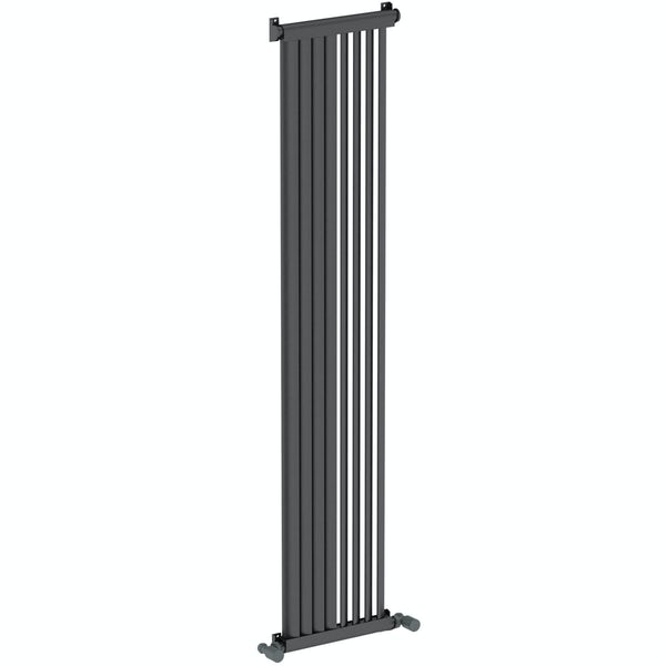 Mode Zephyra anthracite grey vertical radiator 1500 x 328