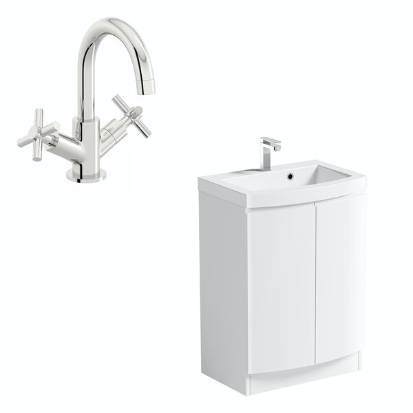 Mode Harrison white floorstanding vanity door unit and basin 600mm with tap