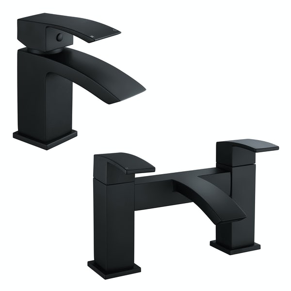 Orchard Wye black WRAS basin and bath mixer bathroom tap sets