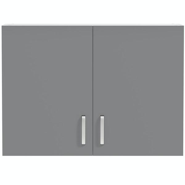Schon Boston mid grey 2 door slab wall unit