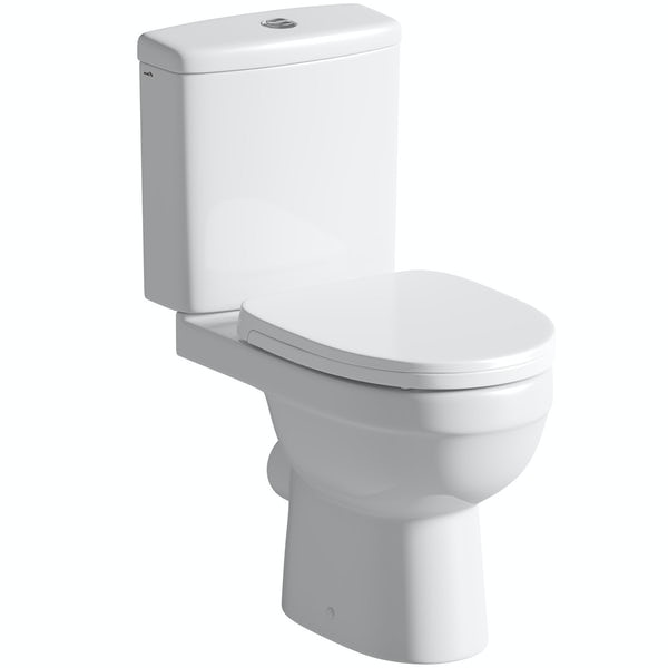 Eden close coupled toilet with soft close toilet seat
