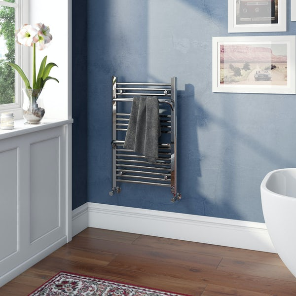 Mode Rohe chrome heated towel rail with hangers 800 x 500