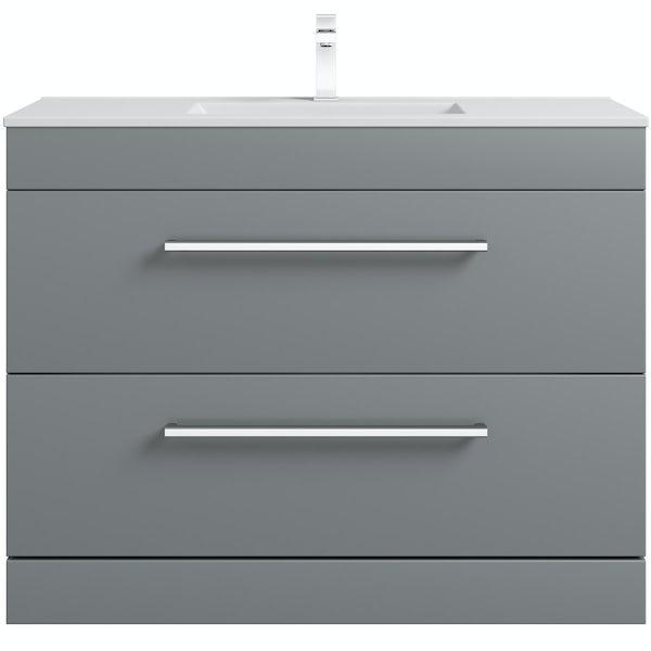Orchard Derwent stone grey vanity drawer unit and basin 1000mm