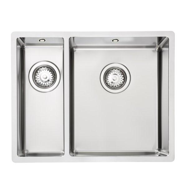 Tuscan Sovana premium brushed steel 1.5 bowl square flush left handed kitchen sink