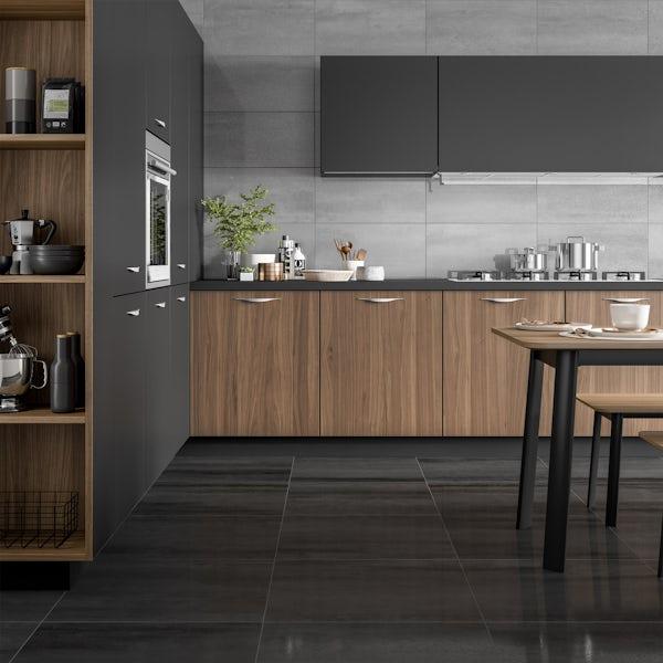 Amadeus black stone effect matt wall and floor tile 600mm x 600mm