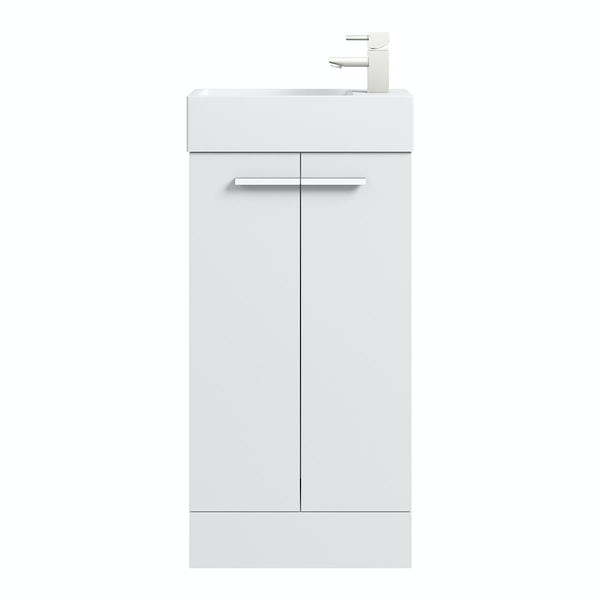 Clarity Compact white floorstanding vanity unit and basin 410mm with tap