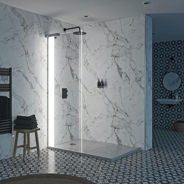 Mode Hale 8mm left handed LED walk in shower enclosure pack with walk in shower tray