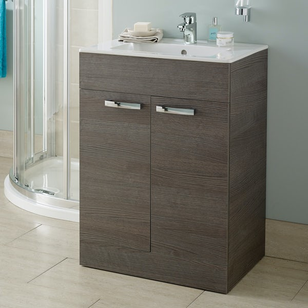 Ideal Standard Tempo sandy grey vanity door unit and basin 600mm