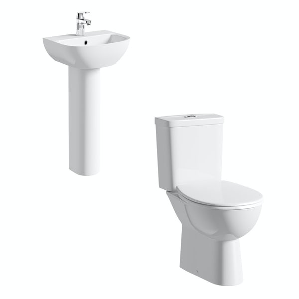 Grohe Bau cloakroom suite with full pedestal basin 450mm