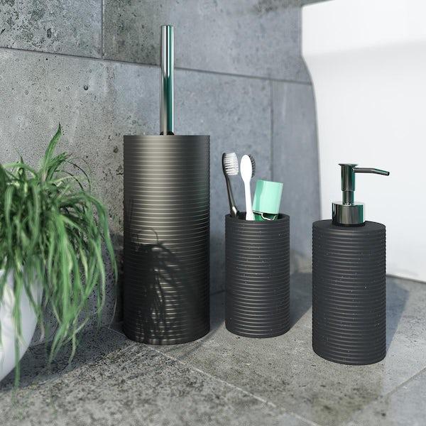 Accents black 3 piece bathroom setAccents Medano black ceramic 3 piece bathroom set